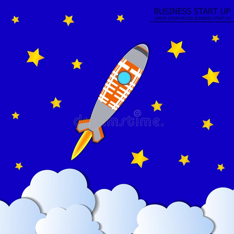 Vector Rocket Launch Background, Starry Sky, Colorful Illustration, Start Up Concept. stock illustration