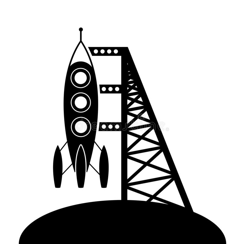 vector rocket and launching pad vector illustration