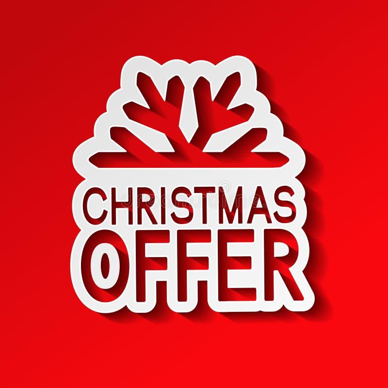 Vector rode document de winterverkoop, sticker - Kerstmisaanbieding met sneeuwvlok vector illustratie