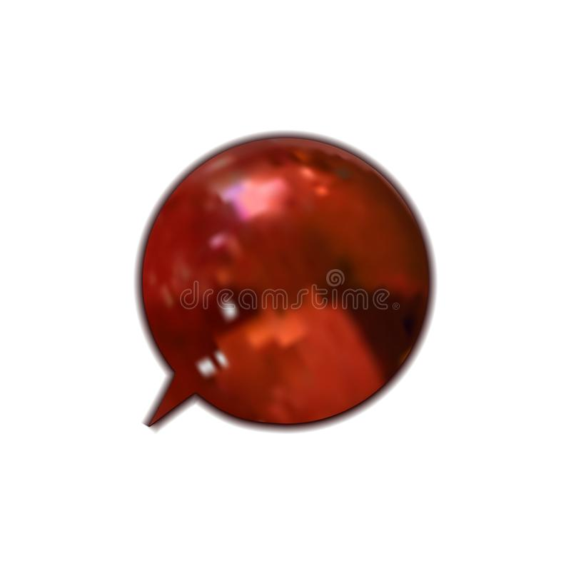 Vector Rode Glanzende Geïsoleerde Toespraakbel, 3D Ontwerpelement royalty-vrije illustratie