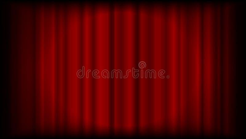 Vector rode gordijnachtergrond van theater of ceremonie met ligh vector illustratie