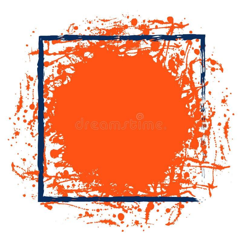 Vector rode inktvlek met borstelslagen, blauw vierkant kader met ruimte voor tekst, op de witte achtergrond vector illustratie