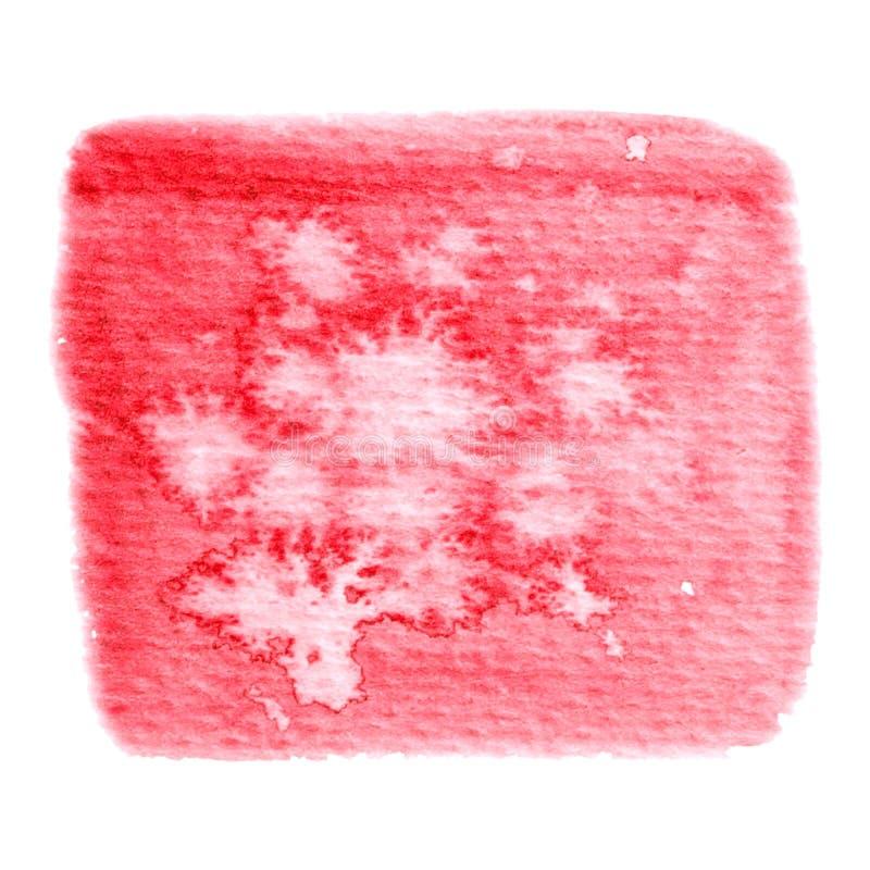 Vector rode waterkleurstructuur geïsoleerd op wit - verfbanner voor Uw ontwerp stock afbeelding