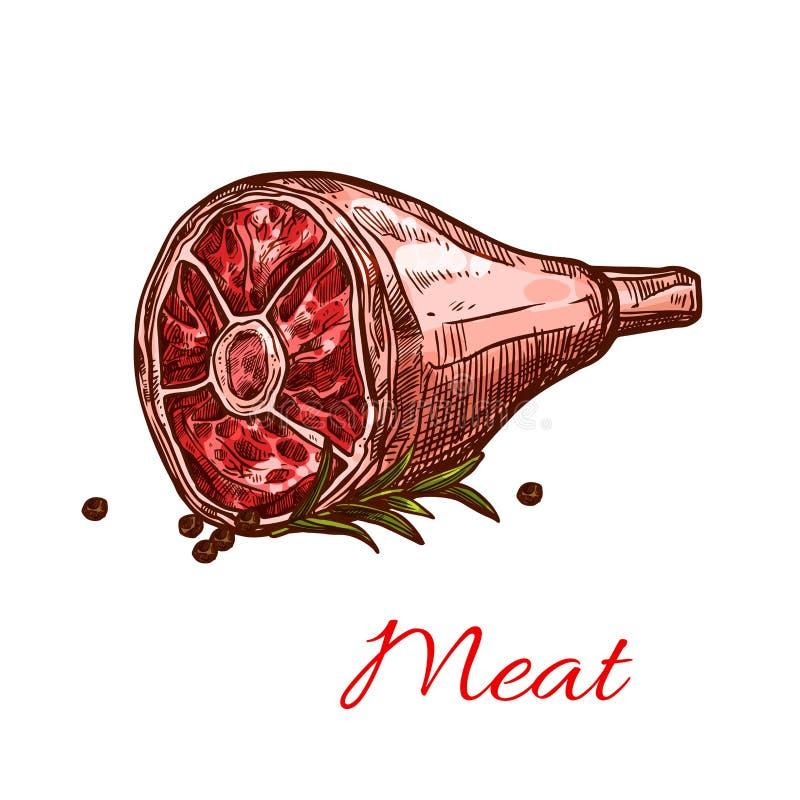 Vector rohes frisches Hinterviertelfleisch lokalisierte Ikone lizenzfreie abbildung