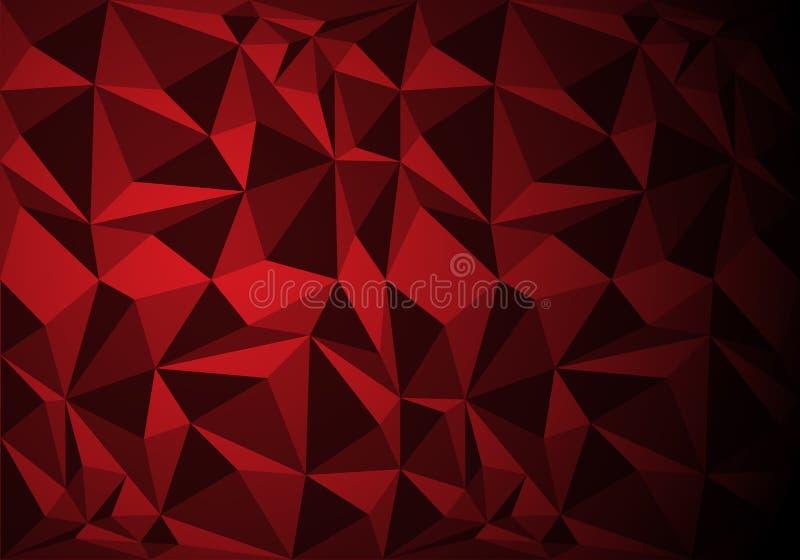 Vector rojo abstracto de la textura del fondo del modelo del polígono ilustración del vector