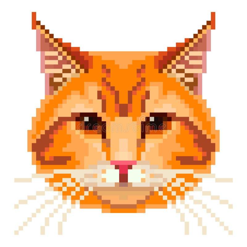 Vector rojo de la cara del gato del pixel stock de ilustración