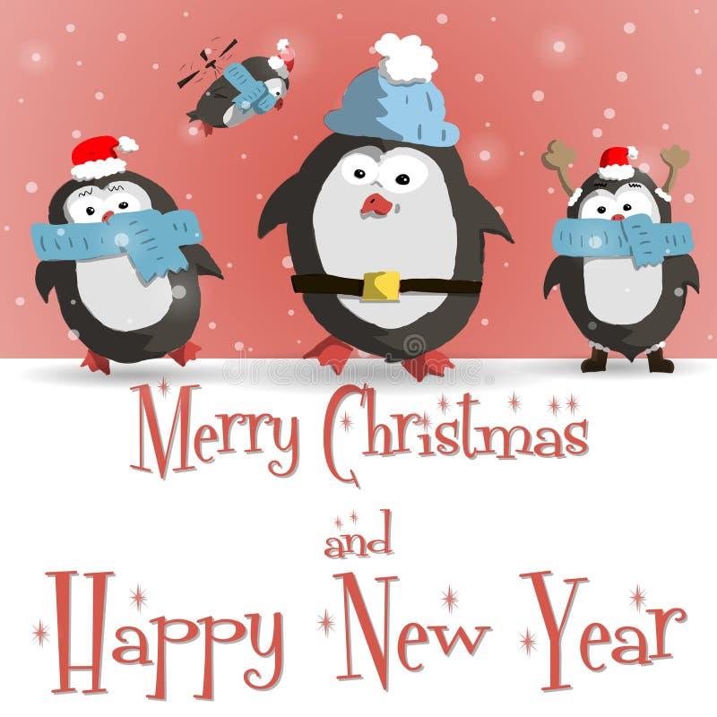 Vector rojo de la tarjeta de felicitación de los pingüinos del Año Nuevo ilustración del vector