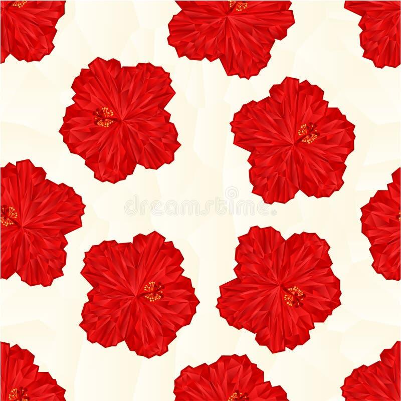 Vector rojo de los polígonos de la flor del hibisco de la textura inconsútil ilustración del vector