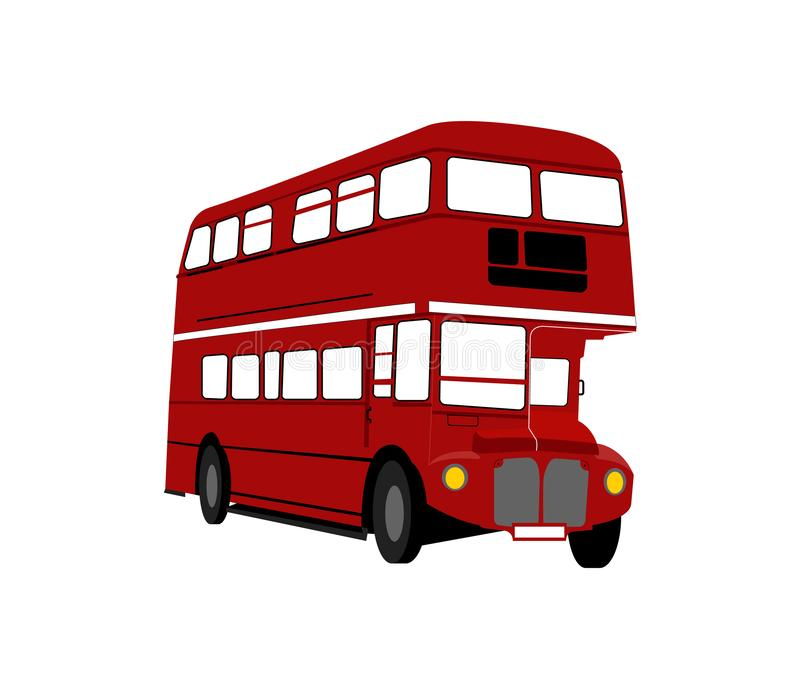 Vector rojo del autobús de Londres aislado en el fondo blanco ilustración del vector