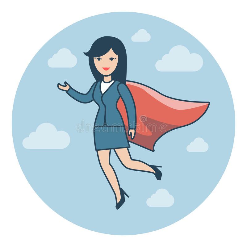 Vector rojo del cabo del super héroe del traje plano linear del vuelo stock de ilustración