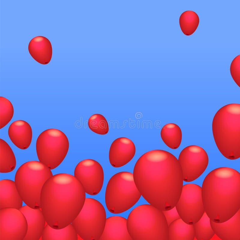Vector rojo del fondo de las bolas stock de ilustración