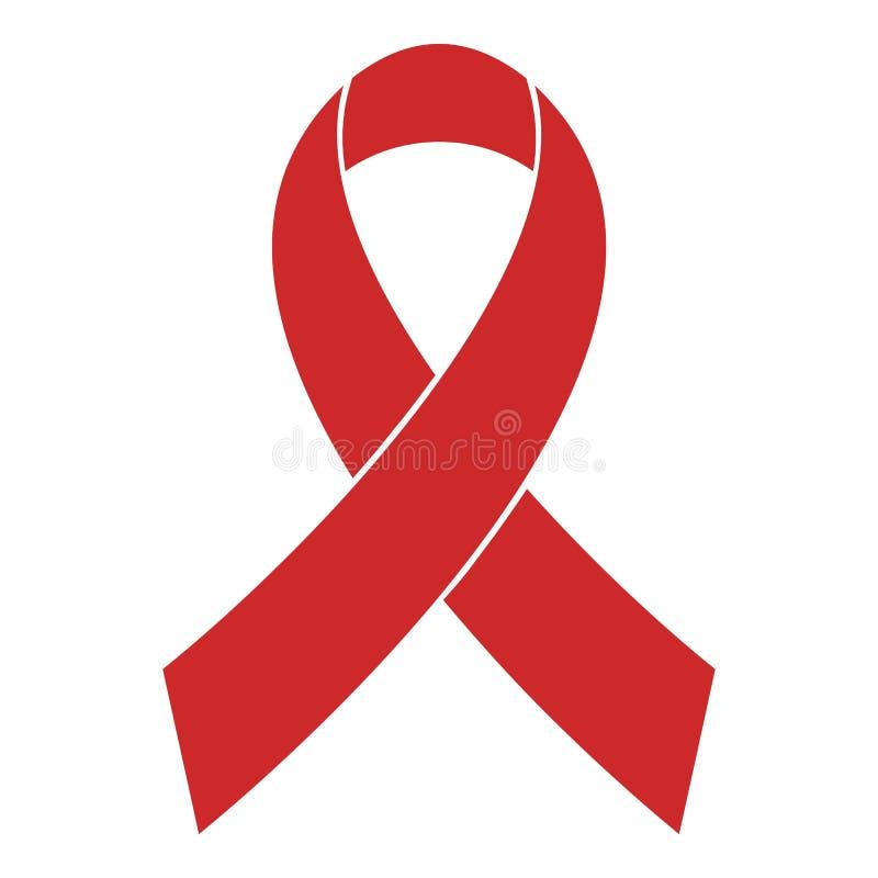 Vector rojo del icono de la cinta de la conciencia del cáncer de pecho simple stock de ilustración