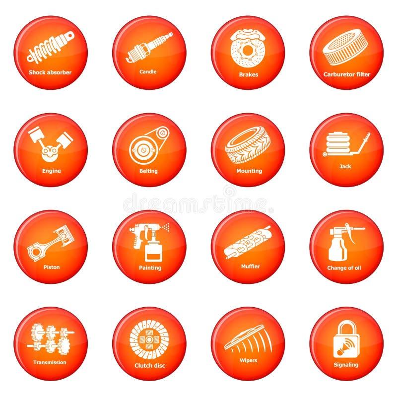 Vector rojo fijado iconos de las piezas de reparación del coche ilustración del vector