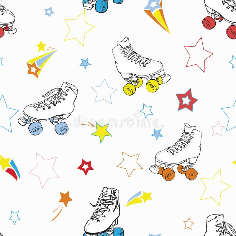 Vector Roller Skates with Stars in rainbow colors. Seamless pattern background royalty free illustration