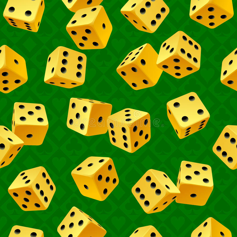 Vector rolling yellow dice seamless background. On green vector illustration
