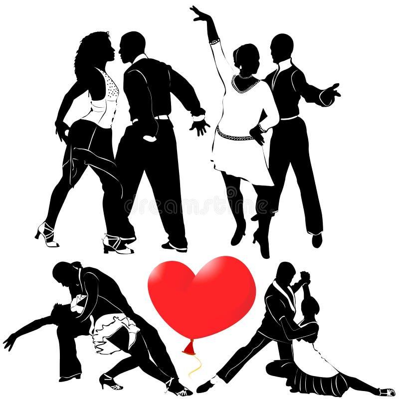 Vector romántico de la danza stock de ilustración