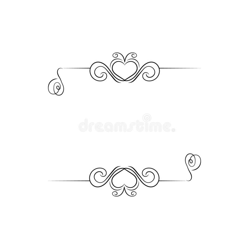 Vector Romantic Calligraphic Frame, Blank Border Tempate, Heart Shaped Filigree and Swirly Lines, Isolated. Vector Romantic Calligraphic Frame, Blank Border royalty free illustration