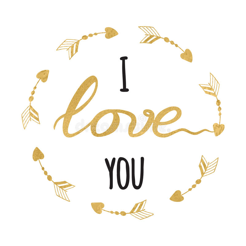 Vector romantic design element, typographic hand drawn gold and sparkle inspirational quote I love you into round frame. Vector romantic Saint Valentines day oe vector illustration