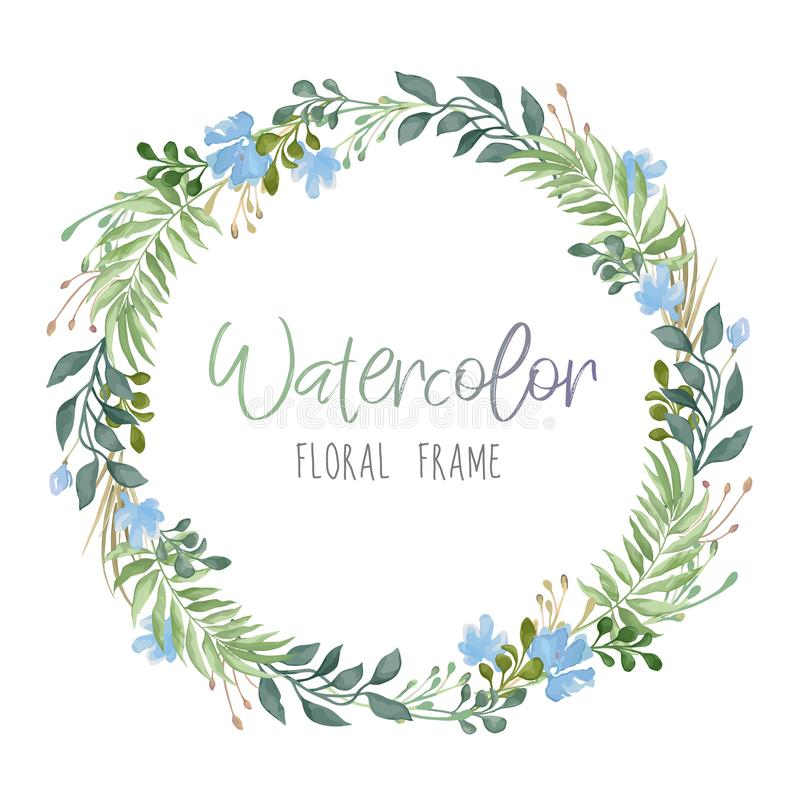 Vector romantic floral round frame with green leaves and blue flowers in watercolor style isolated on white background royalty free illustration