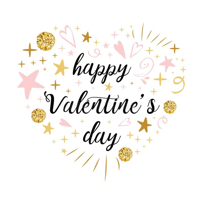Vector romantic Happy Valentines Day calligraphy banner heart shape pink gold glitter colors royalty free illustration