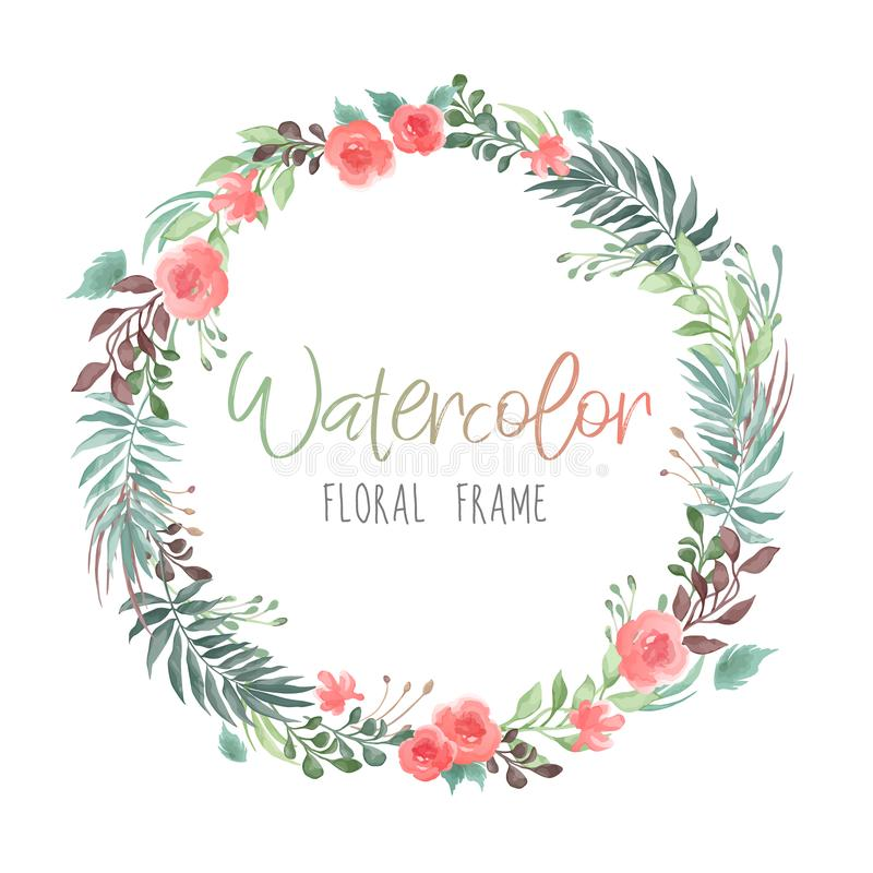 Vector romantic round floral frame with plants and flowers in watercolor style isolated on white background - great for invitation vector illustration