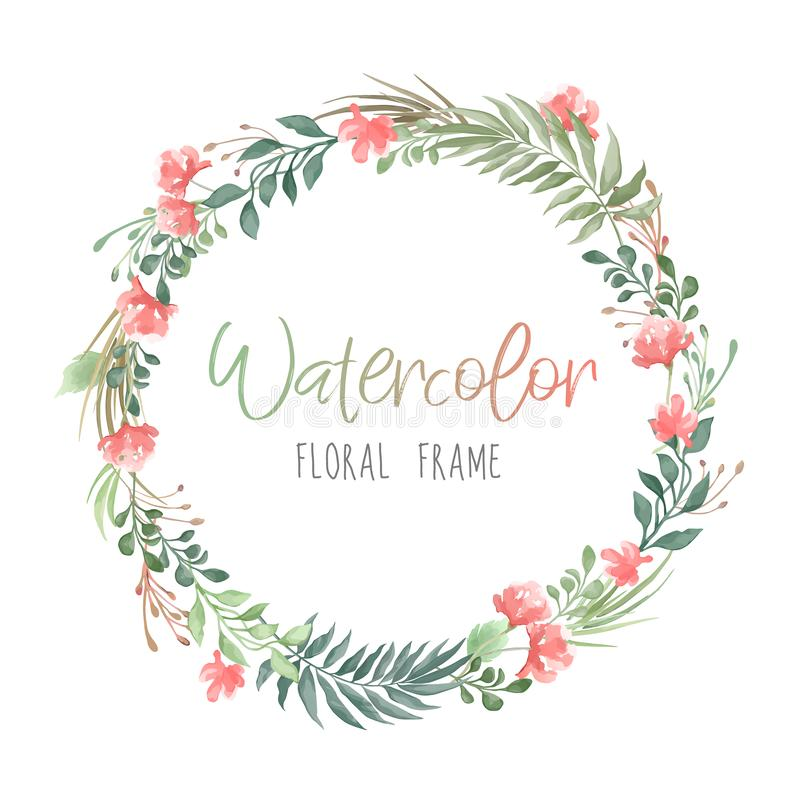 Vector romantic round floral frame with plants and flowers in watercolor style isolated on white background - great for invitation stock illustration