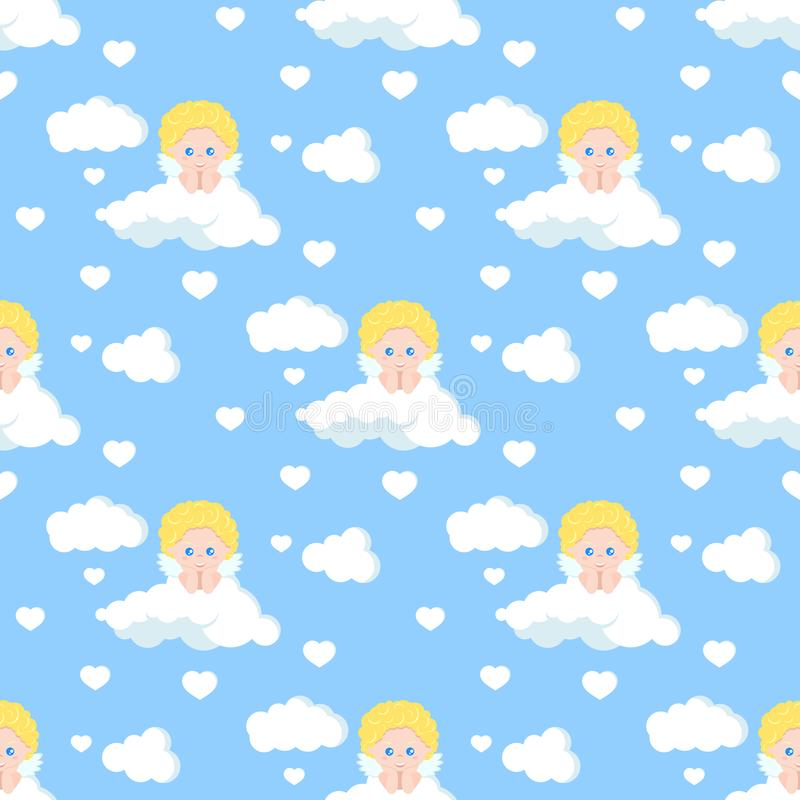 Vector romantic seamless pattern with cute cupid dreaming on white cloud stock illustration