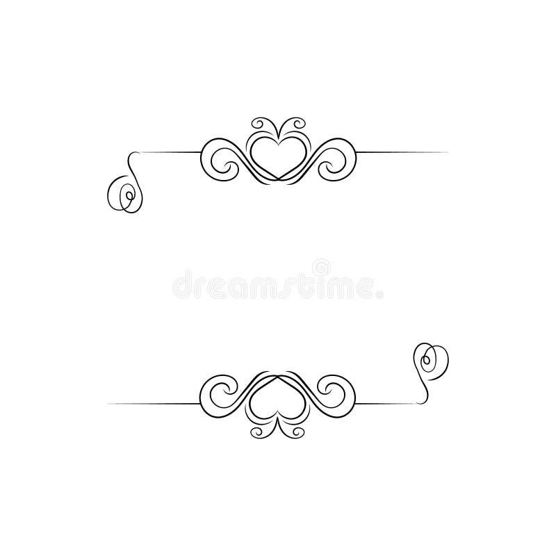 Vector Romantisch Kalligrafisch Kader, Lege Grens Tempate, Hart Gestalte gegeven Filigraan en Swirly-Geïsoleerde Lijnen, royalty-vrije illustratie