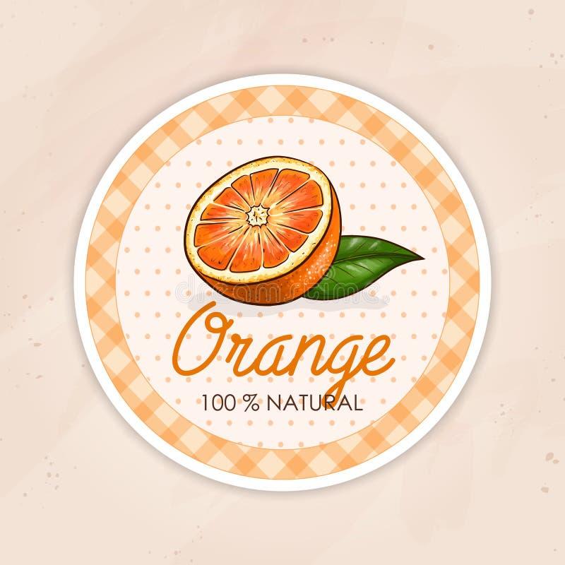 Vector rond etiket, sinaasappel op een zandachtergrond stock illustratie
