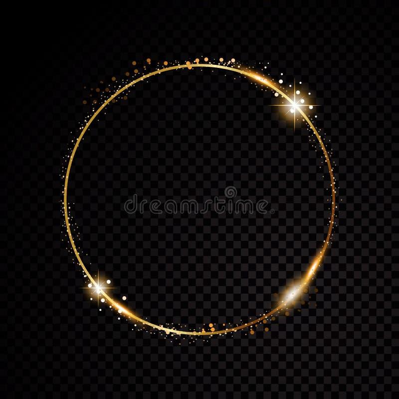 Vector rond kader Glanzende cirkelbanner op zwarte transparante achtergrond Vector illustratie stock illustratie
