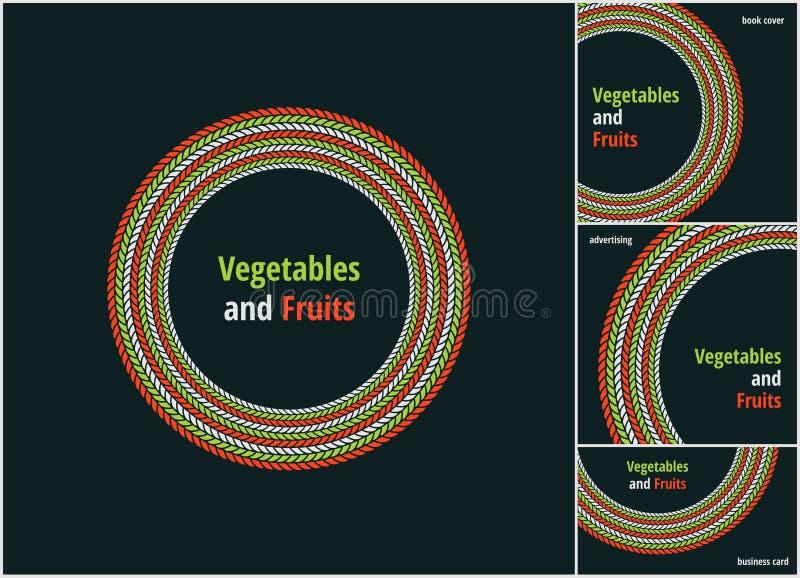 Vector ronde eco, bio groen en rood embleem of teken Veganist, vegetarisch, gezond voedselkenteken, markering, restaurants royalty-vrije illustratie