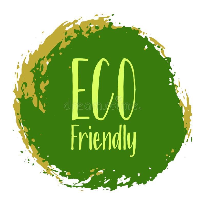 Vector, ronde embleem van het Eco het vriendschappelijke etiket vector illustratie