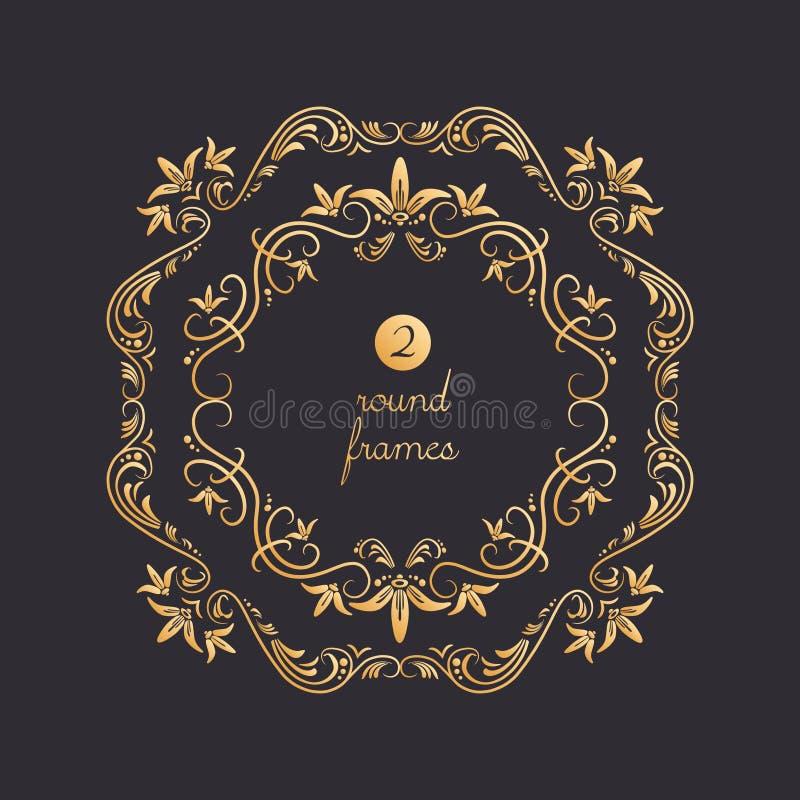 Vector ronde kaders met gouden lelies royalty-vrije illustratie