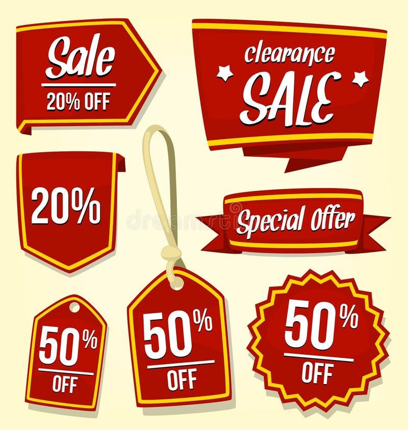 Vector rood het kentekenmalplaatje van de verkoopkorting in oog die gouden streep vangen royalty-vrije illustratie
