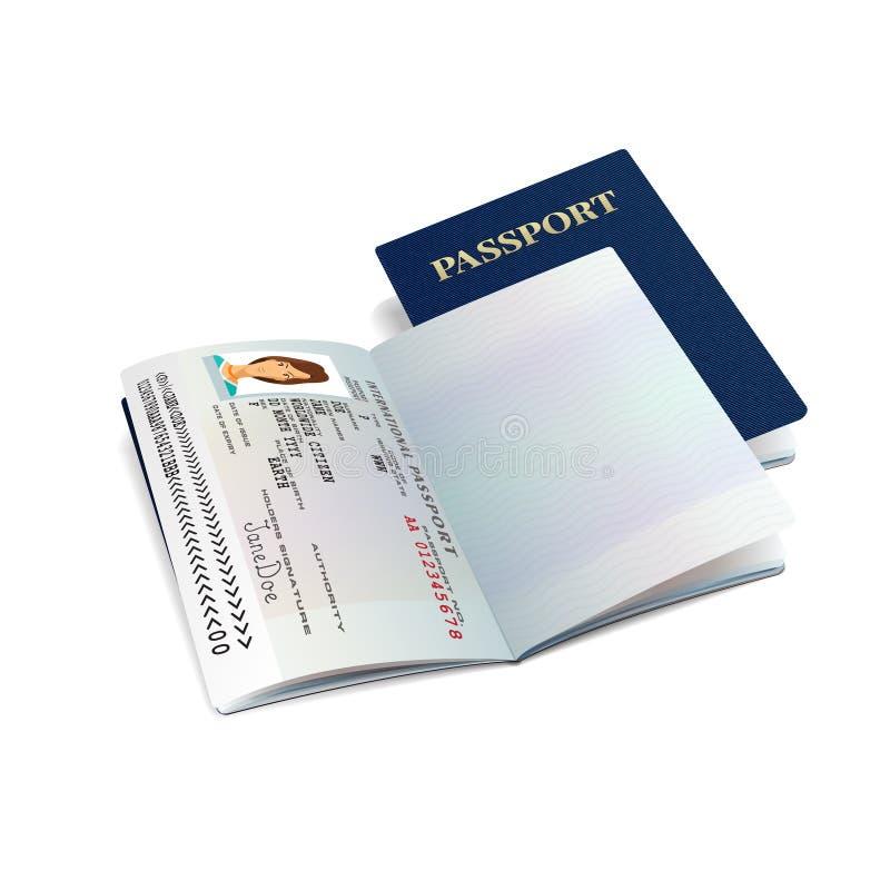 Vector rood internationaal paspoortmalplaatje met de gegevenspagina van de steekproef persoonlijke vrouw royalty-vrije illustratie