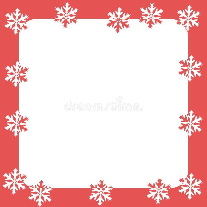 Vector rood kader Kerstmis en Nieuw jaar met witte sneeuwvlokken Plaats voor tekst royalty-vrije illustratie