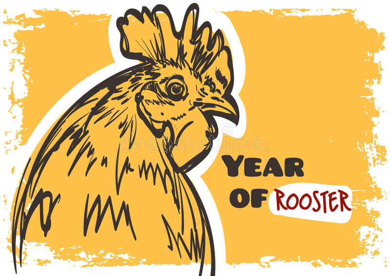 Vector rooster art. Symbol of year 2017 on grunge background. stock illustration