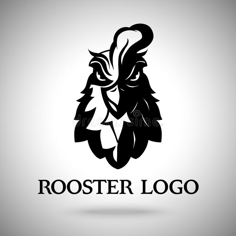 Vector rooster head logo template. stock illustration