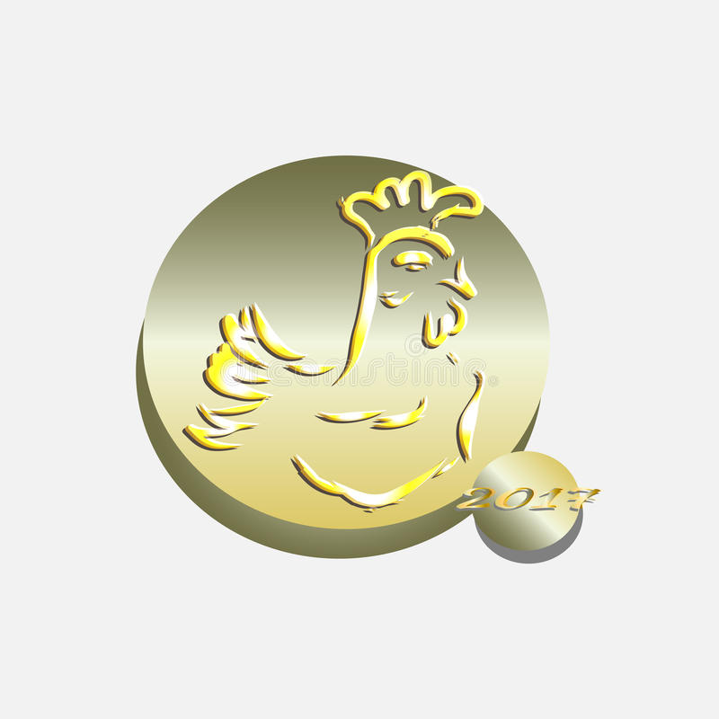 Vector rooster on New Year's Day 2017 royalty free stock photography