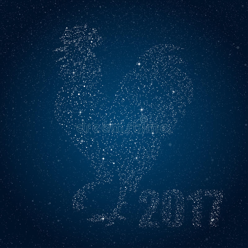 Vector Rooster Star Style. 2017. Cook. vector illustration