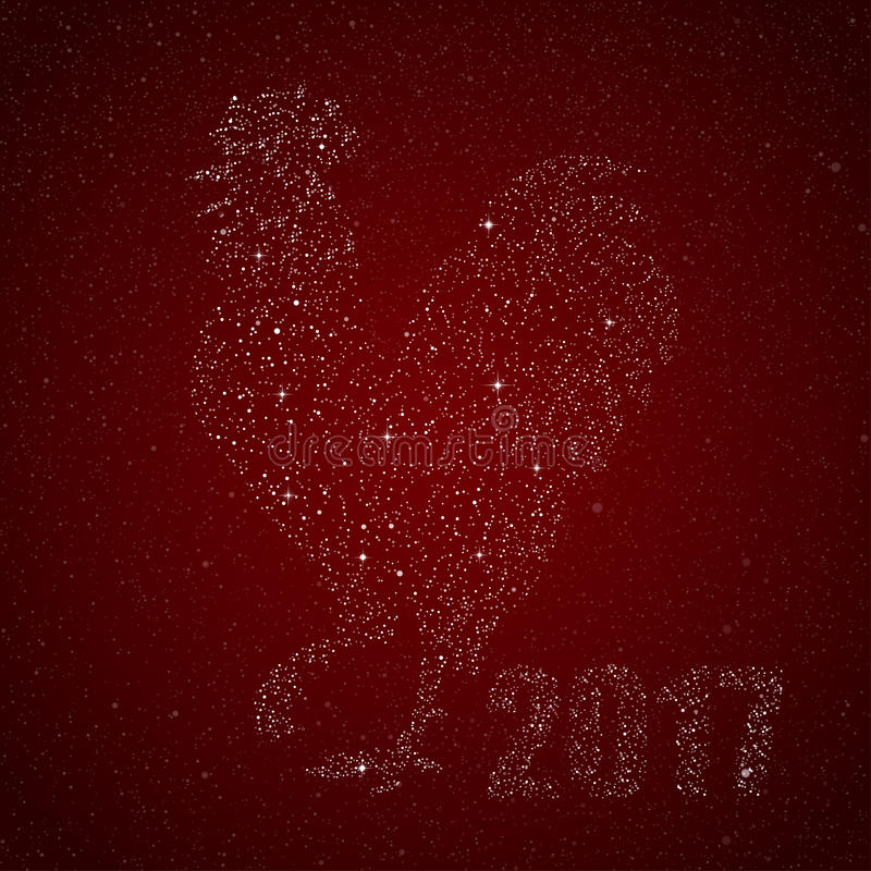 Vector Rooster Star Style. 2017. Cook. royalty free illustration