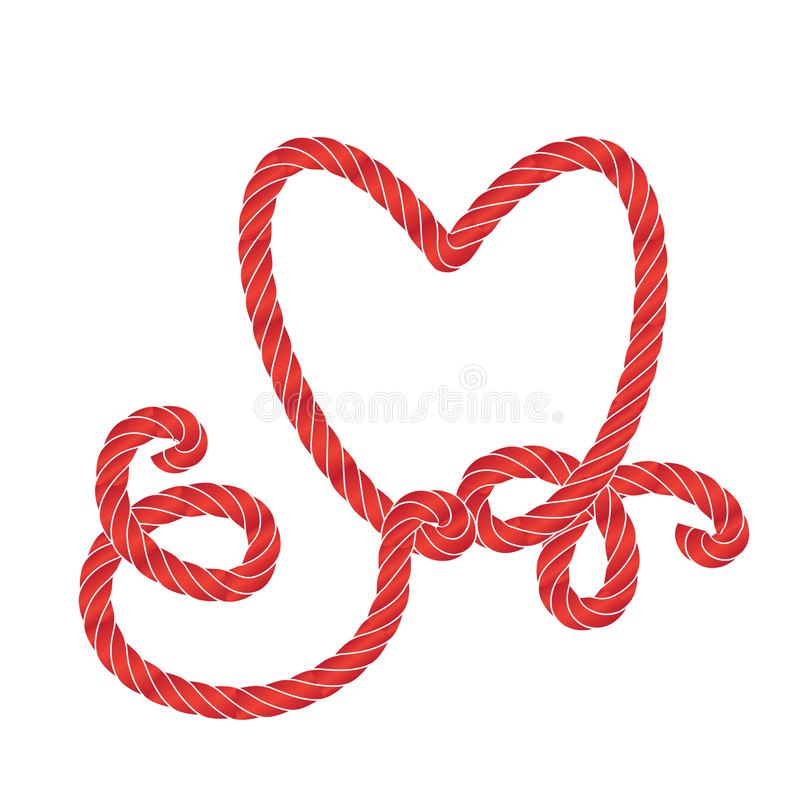 Vector Rope Heart Icon or Love Symbol Frame Isolated. Twisted vector rope heart icon or cordage love symbol with loops isolated. Decorative red twisted jute vector illustration