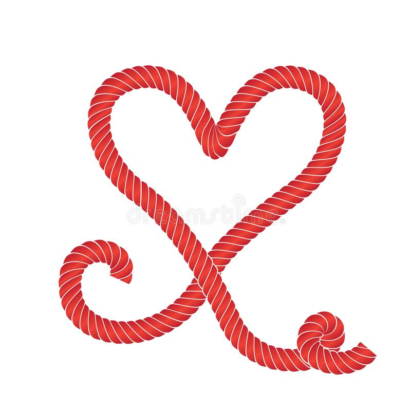Vector Rope Heart Icon or Love Symbol Frame Isolated. Twisted vector rope heart icon or cordage love symbol with loops isolated. Decorative red twisted jute stock illustration