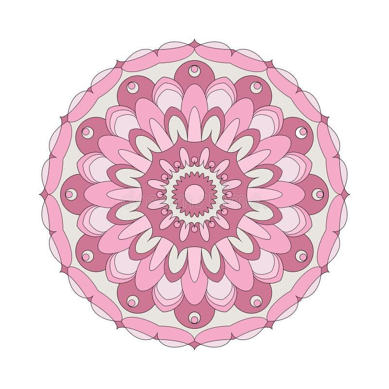 Vector rosa coloreado flor circular adulta de la mandala del modelo del libro de colorear el viejo - fondo floral stock de ilustración