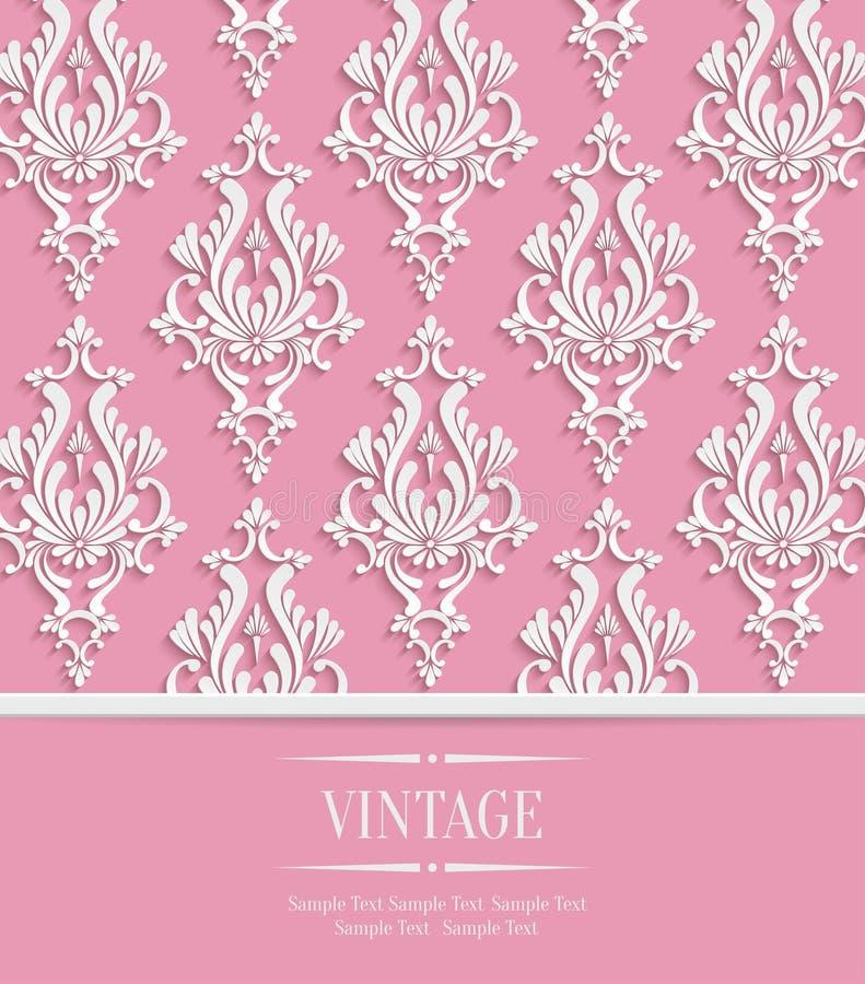 Vector rosa Hintergrund der Weinlese-3d für Gruß-oder Einladungs-Karte mit Damast-Blumenmuster vektor abbildung