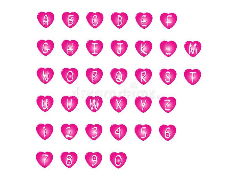 Vector rosado de la fuente abstracta moderna y del alfabeto 3D ilustración del vector