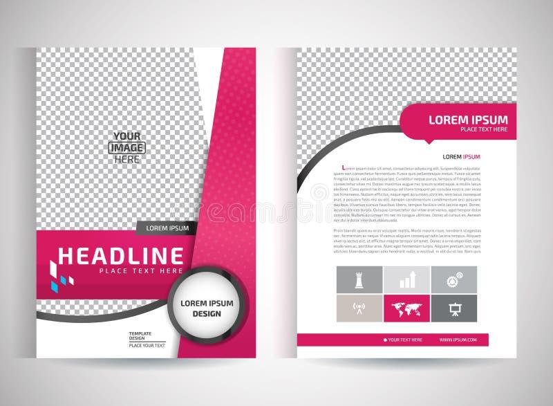 Vector rosado de la plantilla del diseño del aviador del folleto del informe anual, fondo plano del extracto de la presentación d ilustración del vector