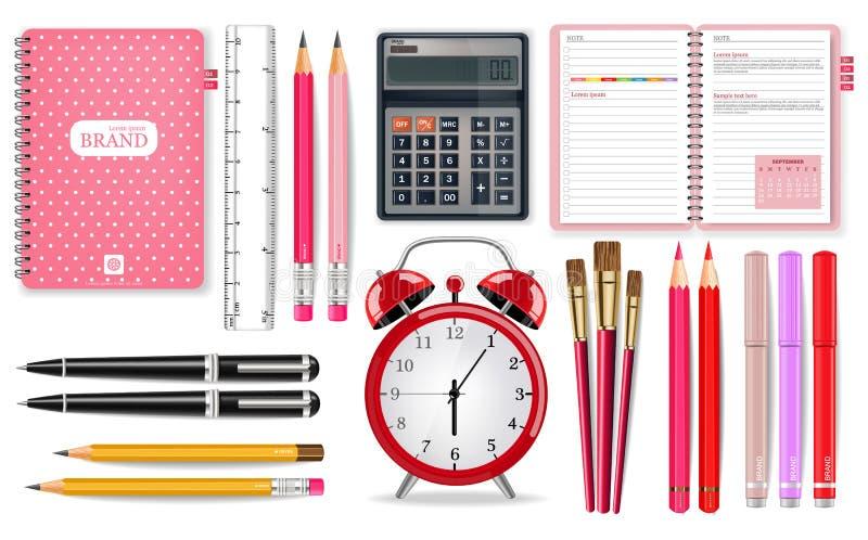 Vector rosado de las fuentes de escuela realista Herramientas del despertador, de la calculadora, del cuaderno y de la pluma Ejem stock de ilustración