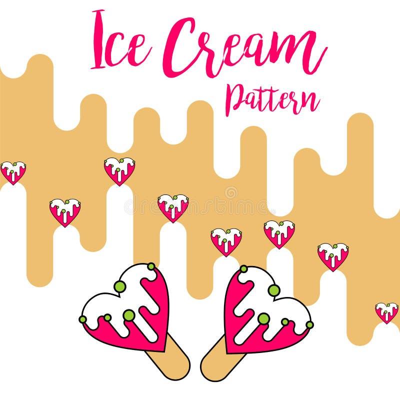 Vector rosado del amor del modelo del color crema del hielo de la impresión ilustración del vector