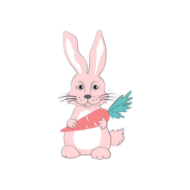 Vector rosado del conejo de la historieta con la zanahoria, animal doméstico de los niños, conejito lindo, sentada de las liebres libre illustration